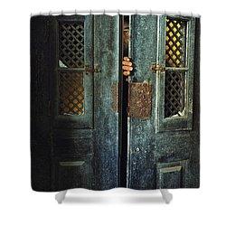 Door Peeking Shower Curtain by Carlos Caetano