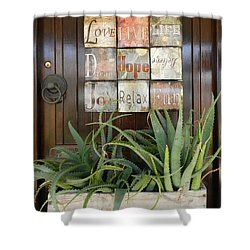 Door With A Message Shower Curtain by Leana De Villiers