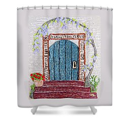 Door With Many Languages Shower Curtain by Stephanie Callsen