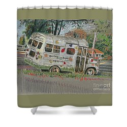 Shower Curtain featuring the painting Doodlebugs Bus by Donald Maier
