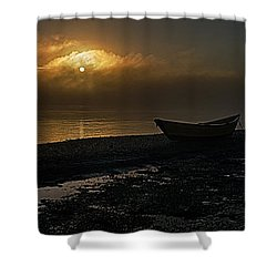 Shower Curtain featuring the photograph Dories Beached In Lifting Fog by Marty Saccone