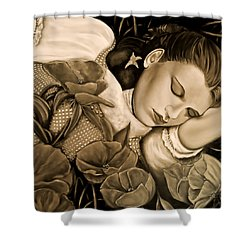 Dorothy's Sleep Sepia Shower Curtain by Cindy Anderson