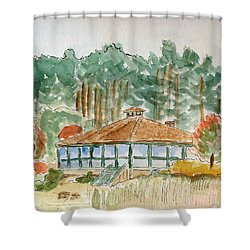 Shower Curtain featuring the painting Dorrs Pondhouse by Linda Feinberg