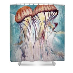 Dos Jellyfish Shower Curtain by Jeff Lucas