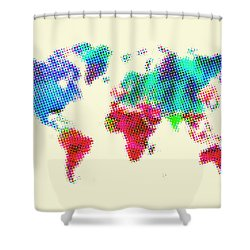 Dotted World Map 2 Shower Curtain by Naxart Studio