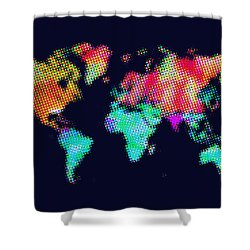 Dotted World Map 3 Shower Curtain by Naxart Studio
