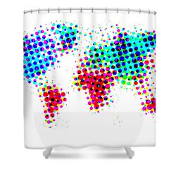 Dotted World Map 4 Shower Curtain