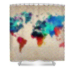 Dotted World Map Shower Curtain by Naxart Studio