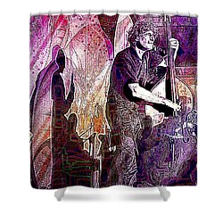 Double Bass Silhouette  Shower Curtain