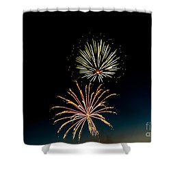 Double Fireworks Blast Shower Curtain by Robert Bales
