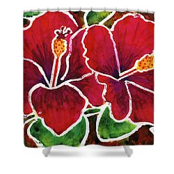 Double Hibiscus Shower Curtain
