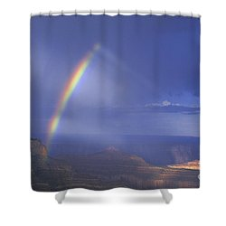 Shower Curtain featuring the photograph Double Rainbow At Cape Royal Grand Canyon National Park by Dave Welling