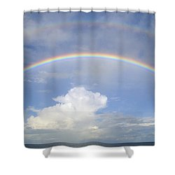 Shower Curtain featuring the photograph Double Rainbow At Sea by Bradford Martin