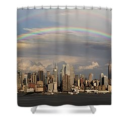 Double Rainbow Over Nyc Shower Curtain by Susan Candelario