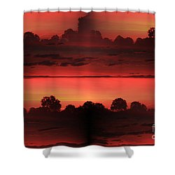 Double Red Sunrise Shower Curtain