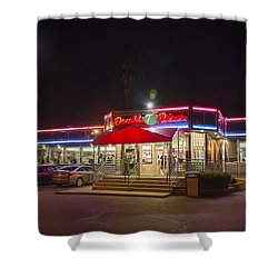 Double T Diner At Night Shower Curtain by Brian Wallace