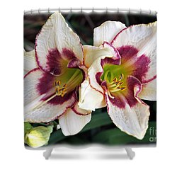 Double The Bloom Shower Curtain by Elizabeth Winter