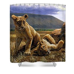 Double Trouble Shower Curtain by Crista Forest