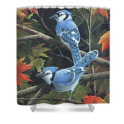 Shower Curtain featuring the painting Double Trouble by Mike Brown