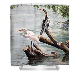 Double Trouble Shower Curtain by Roxanne Tobaison