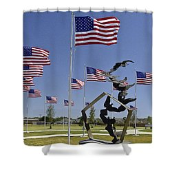 Shower Curtain featuring the photograph Doves And Flags by Allen Sheffield