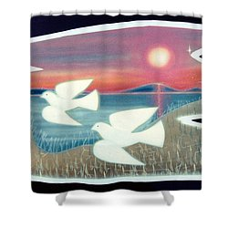 Shower Curtain featuring the painting Doves by Jason Girard