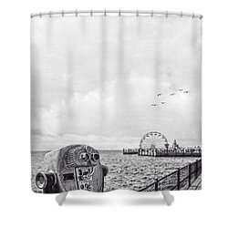 Down At The Pier Shower Curtain by Edward Fielding