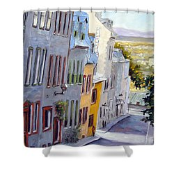 Down The Hill Old Quebec City Shower Curtain by Richard T Pranke