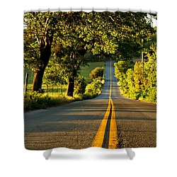 Down The Road Shower Curtain by Sharon Soberon