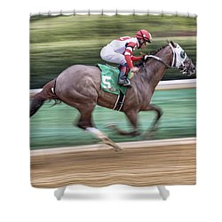 Down The Stretch - Horse Racing - Jockey Shower Curtain by Jason Politte