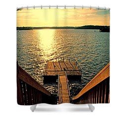 Down To The Fishing Dock - Lake Of The Ozarks Mo Shower Curtain by Debbie Portwood