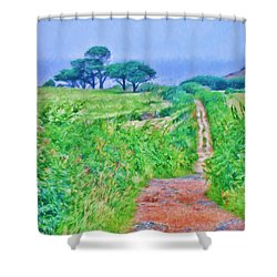Down To The Sea Herm Island Shower Curtain