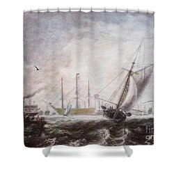 Down To The Sea In Ships Shower Curtain by Lianne Schneider