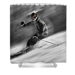 Downhill Skier  Shower Curtain by Dan Friend