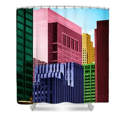 Downtown Building Blocks Shower Curtain by Bartz Johnson