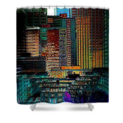 Shower Curtain featuring the digital art Downtown Chaos by Stuart Turnbull