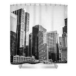 Downtown Chicago Buildings In Black And White Shower Curtain by Paul Velgos