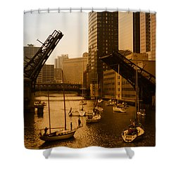 Downtown Chicago Shower Curtain by Miguel Winterpacht