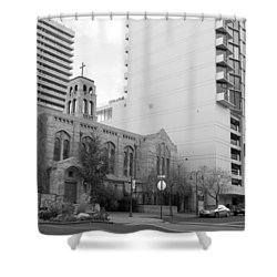Downtown Church  Shower Curtain