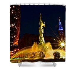 Downtown Cleveland Shower Curtain by Frozen in Time Fine Art Photography