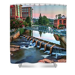 Downtown Greenville On The River Shower Curtain