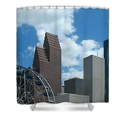 Downtown Houston With Ferris Wheel Shower Curtain