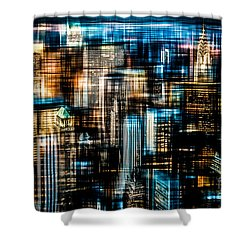 Downtown II - Dark Shower Curtain by Hannes Cmarits