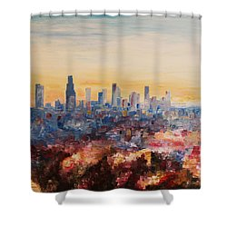 Downtown Los Angeles At Dusk Shower Curtain by M Bleichner