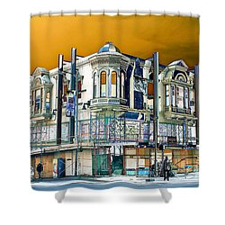 Downtown Los Angeles Corner Facade Shower Curtain