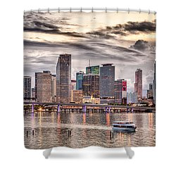 Downtown Miami Skyline In Hdr Shower Curtain