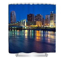 Downtown Minneapolis Skyline Hennepin Avenue Bridge Shower Curtain