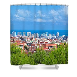 Downtown Panorama Of Barcelona Shower Curtain by Michal Bednarek