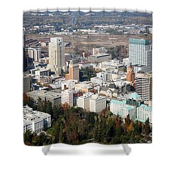Downtown Sacramento And Capitol Park Shower Curtain by Bill Cobb
