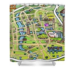 Downtown San Antonio Texas Cartoon Map Shower Curtain
